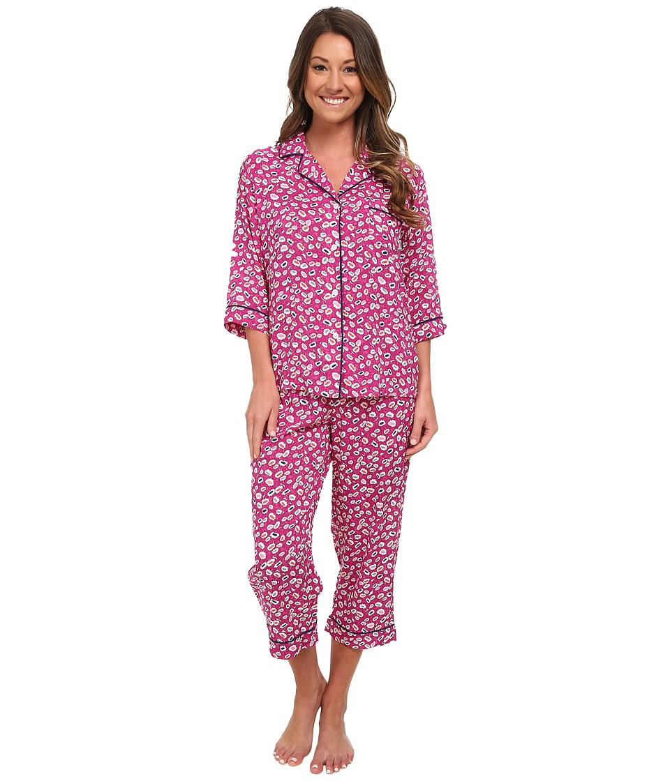 DKNY - City Surfer 1/2 Sleeve Top Capris PJ Set (Pink Geo) Women's Pajama Sets