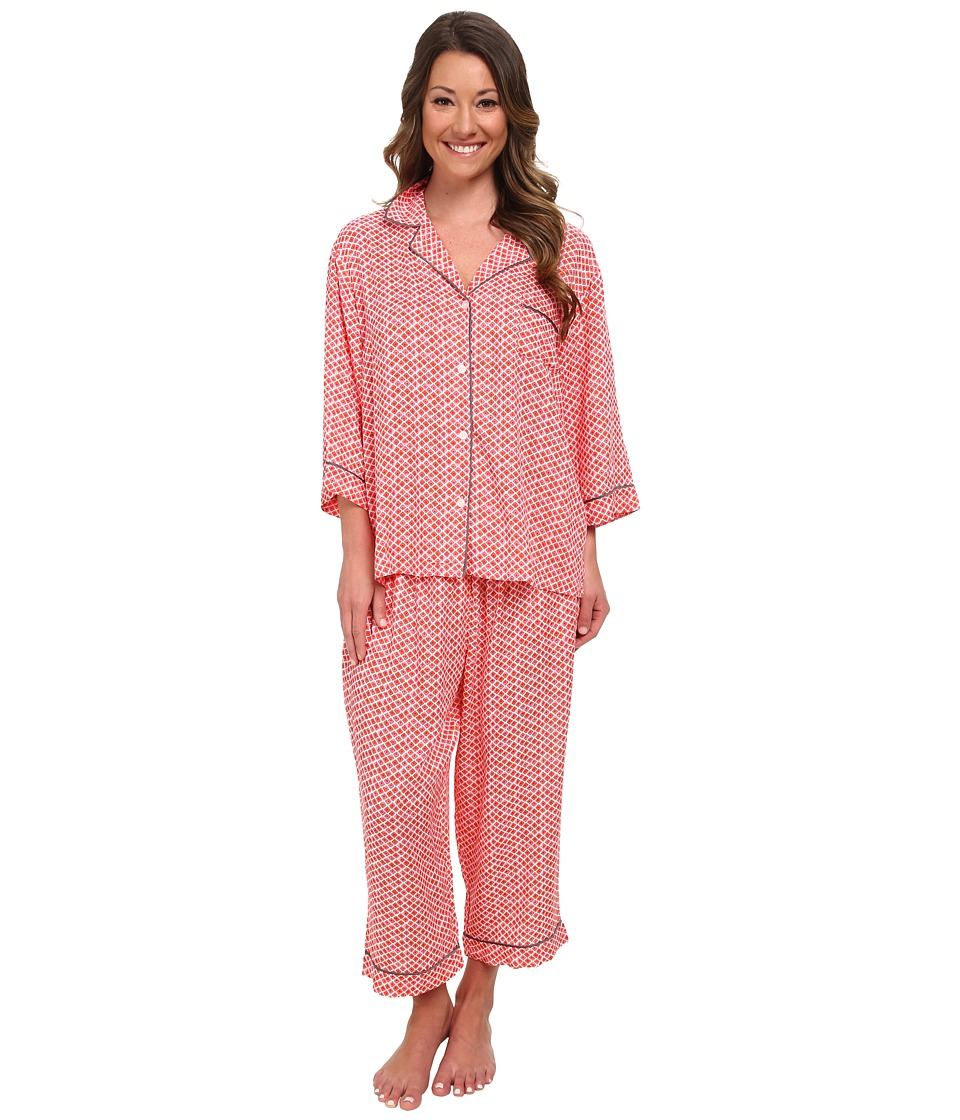 DKNY - City Surfer 1/2 Sleeve Top Capris PJ Set (Orange Geo) Women's Pajama Sets