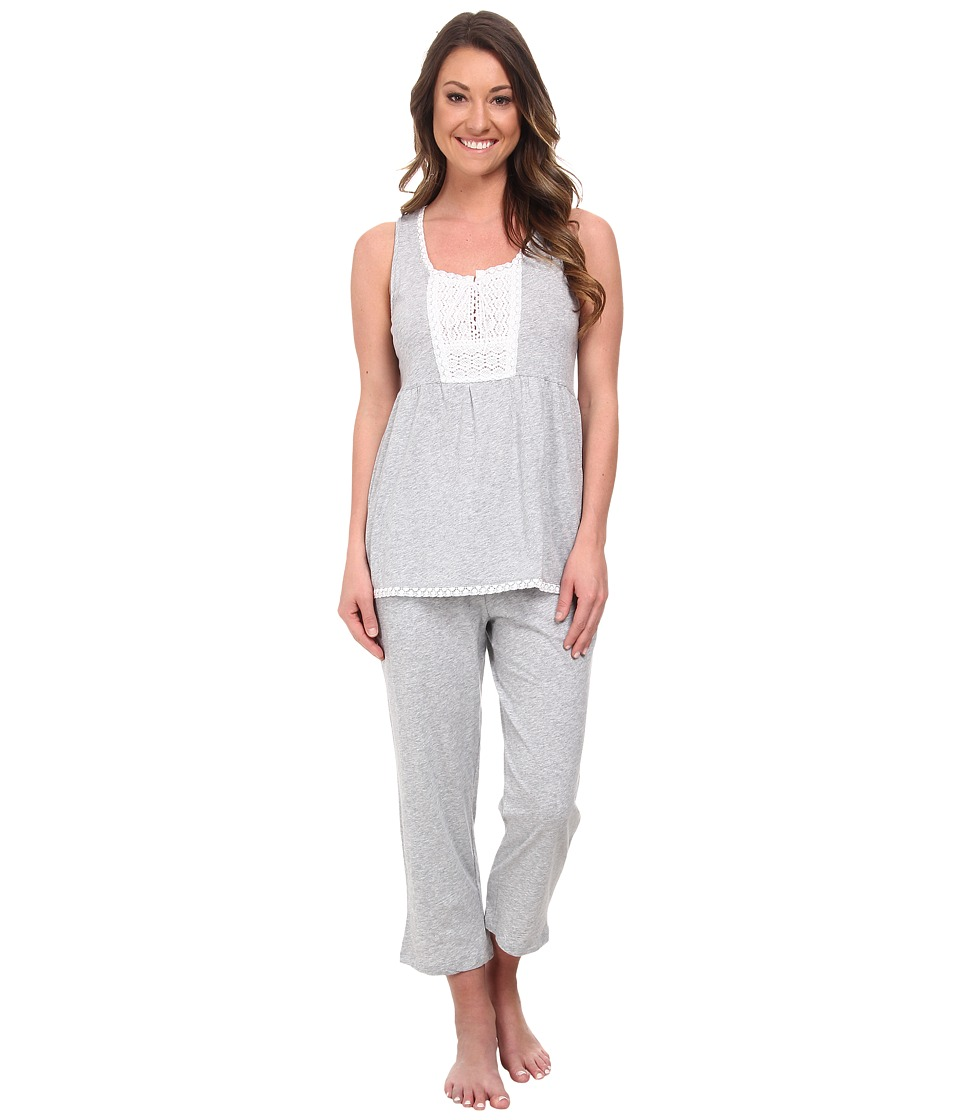 DKNY - Highline Beauty Tank Capris Set (Heather Grey) Women