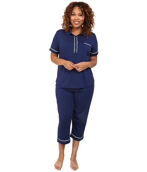 DKNY - Plus Size Perfect PJ Summer PJ Set (Navy) Women