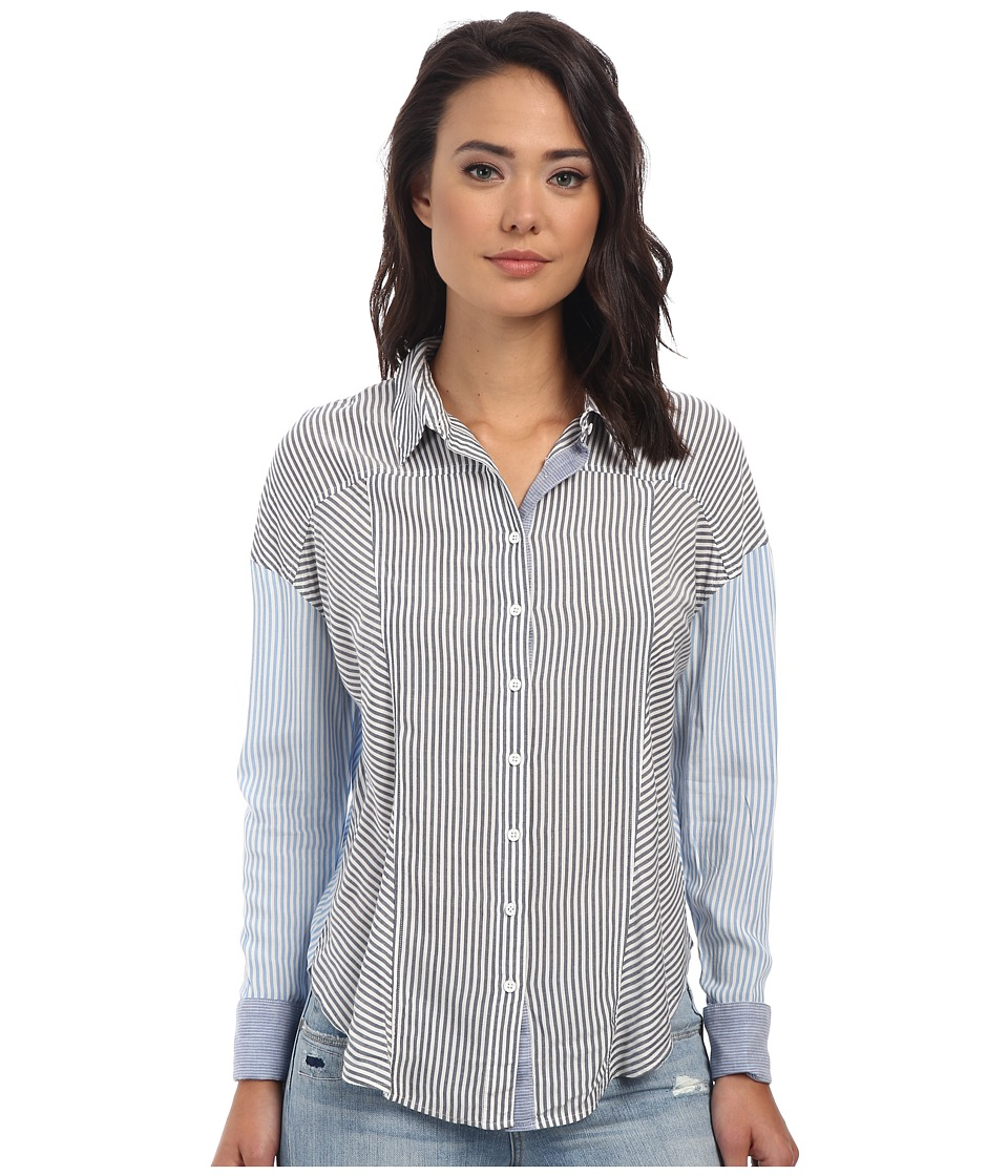 Free People - Rayon Oxford Stripe Captetown Button Down (Chambray Combo) Women