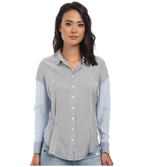 Free People - Rayon Oxford Stripe Captetown Button Down (Chambray Combo) Women's Short Sleeve Button Up