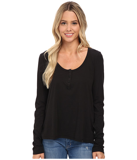Volcom - Lived in Overdyed Henley (Black) Women's Long Sleeve Pullover