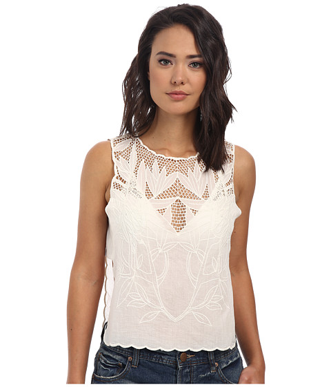 Free People - Solid Voile Island in the Sun Crop Top (White) Women's T Shirt