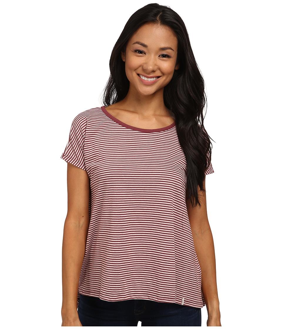 Volcom - Lived in Stripe Tee (Cognac) Women's Short Sleeve Pullover