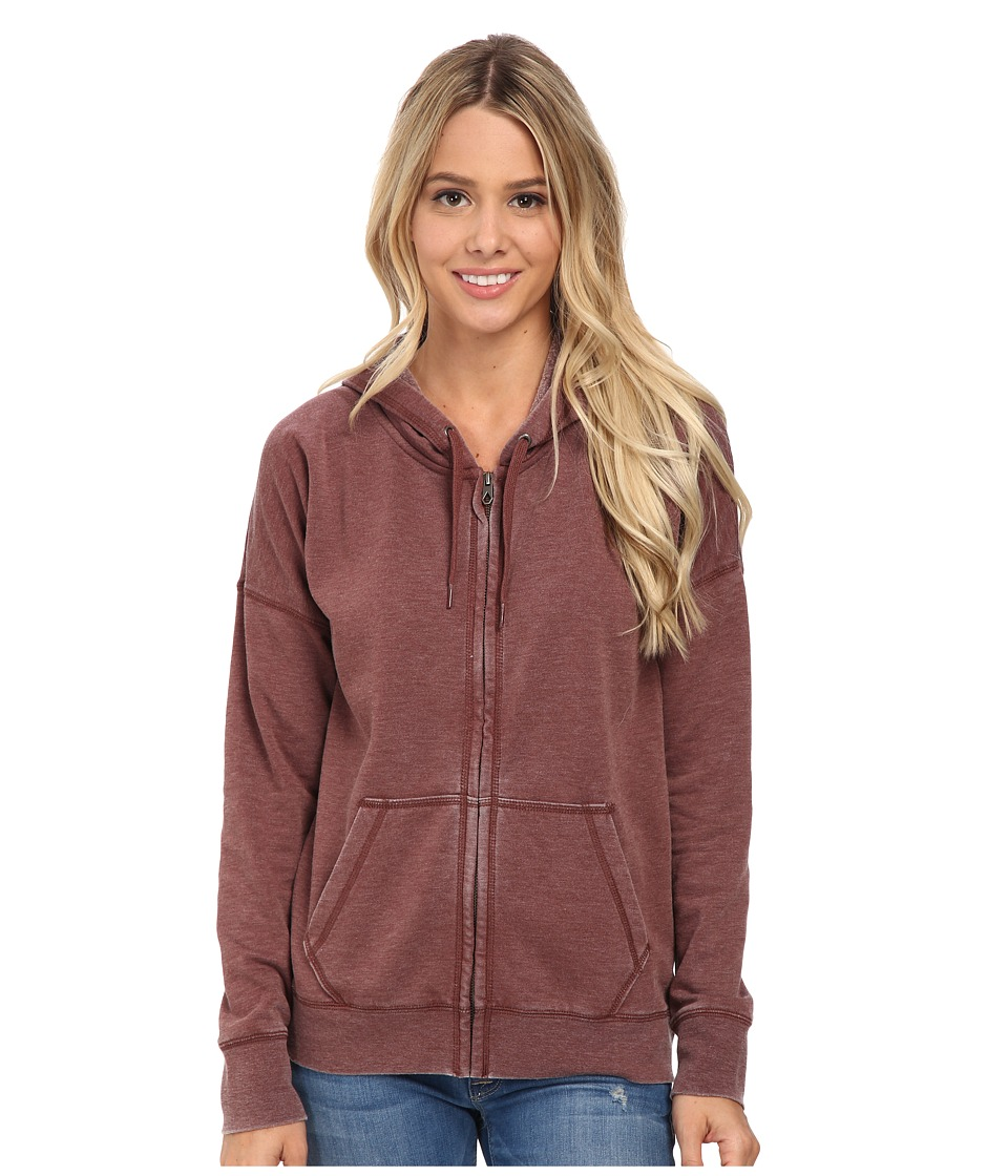 Volcom - Lived in Fleece Zip Top (Cognac) Women's Long Sleeve Pullover