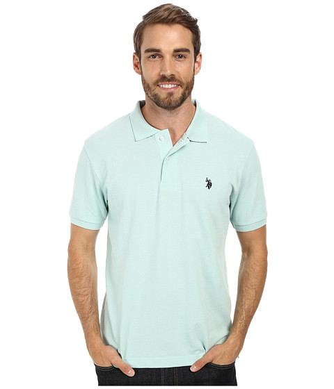 U.S. POLO ASSN. - Solid Cotton Pique Polo with Small Pony (Mint Heather) Men's Short Sleeve Knit