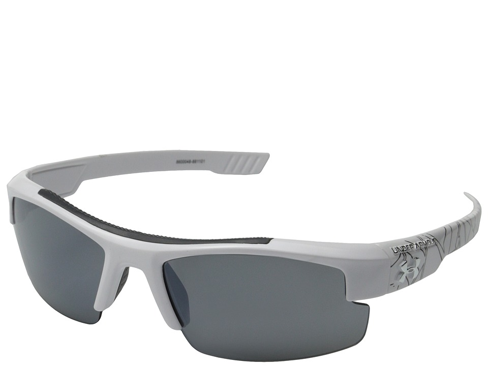 Under Armour - Nitro L (Youth) (Shiny White/Black Battle Print Exterior/Gray/Multiflection Lens) Sport Sunglasses