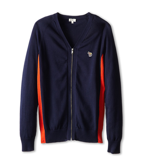 Paul Smith Junior - Mesh Zipper Cardigan (Big Kids) (Dark Navy) Boy's Sweater