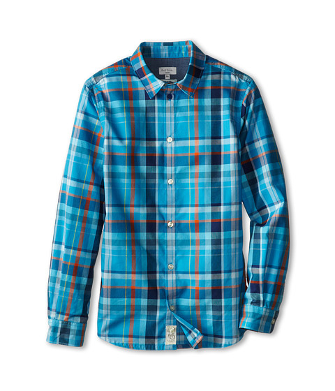 Paul Smith Junior - Plaid Shirt (Big Kids) (Mr. Klein's Blue) Boy's Long Sleeve Button Up