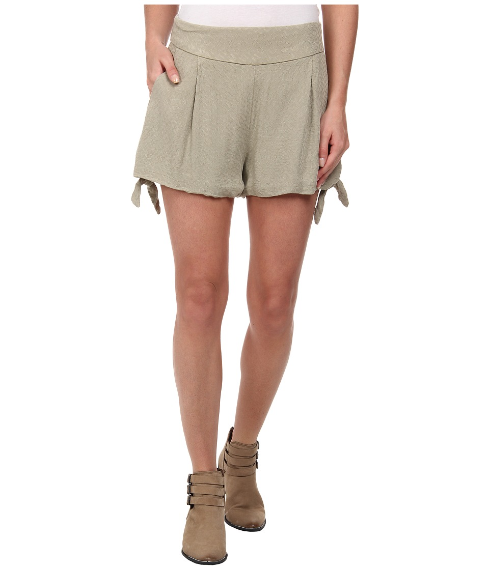 Free People - Rayon Geometic Jacquard Solid Tie Short (Light Olive) Women