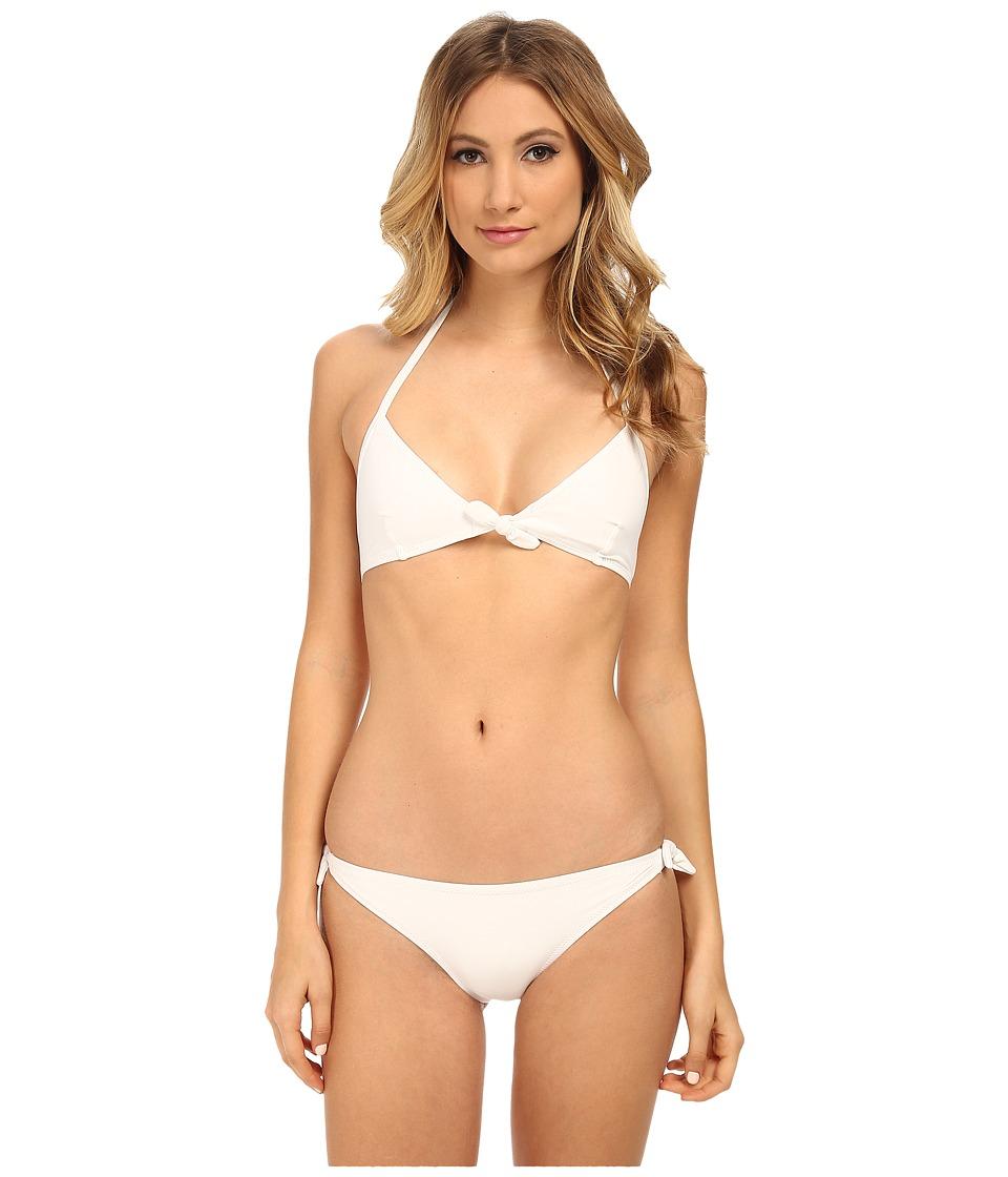 Proenza Schouler - Tie Front Triangle Top w/ Side Tie Bikini Bottom (White) Women's Swimwear Sets