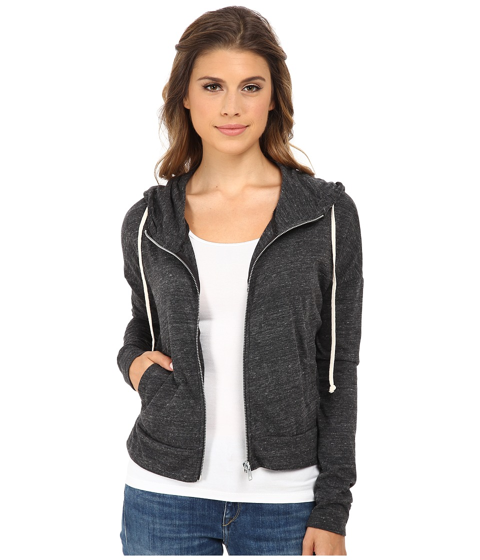 Alternative - Eco Jersey Cropped Zip Hoodie (Eco Black) Women's Sweatshirt