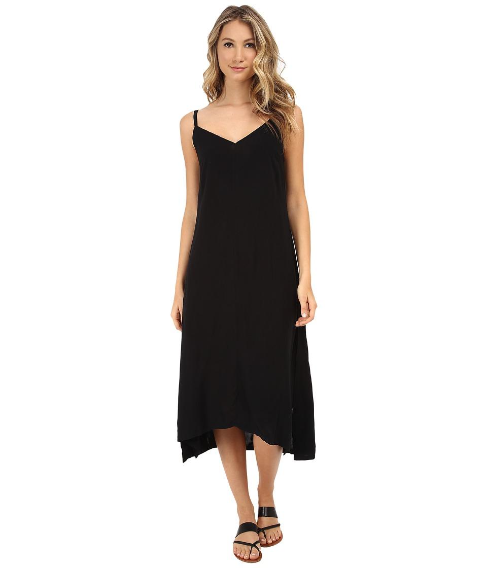 Alternative - Rayon Challis Midi Dress (Black) Women's Dress