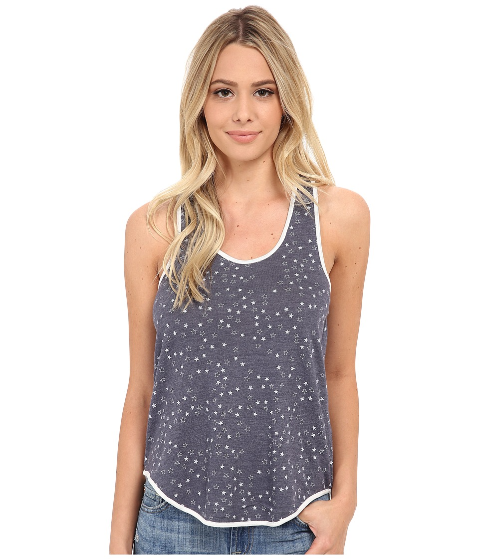 Alternative - Eco Jersey Shirttail Tank Top (Eco True Navy Scattered Stars) Women's Sleeveless