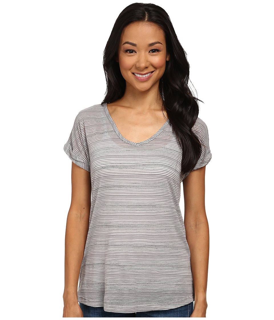 Allen Allen Stripe Short Sleeve Tee (Light Grey) Women