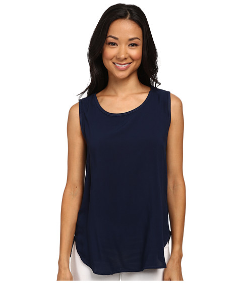 Allen Allen - Sleeveless Crew with Lace Back (Lapis) Women