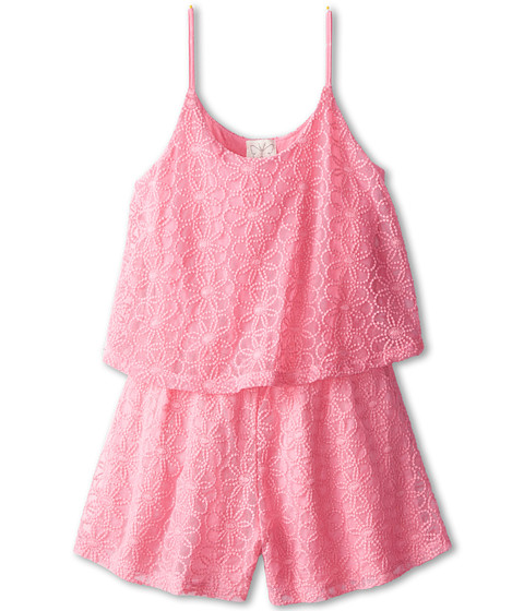 Ella Moss Girl - Lily Lace Romper (Big Kids) (Pink) Girl