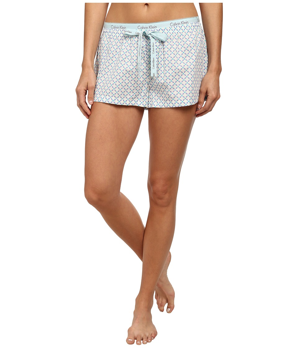 Calvin Klein Underwear - Sleepwear Woven Shorts (Bowery Tile Print/Ivory) Women's Pajama