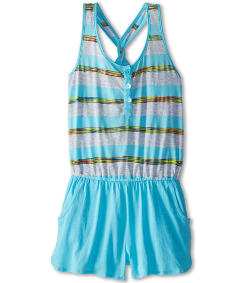 Splendid Littles - Fashion Stripe Romper (Big Kids) (Light Blue) Girl