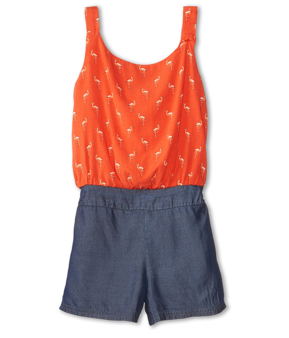 Splendid Littles - Flamingo Print Romper (Big Kids) (Orange) Girl