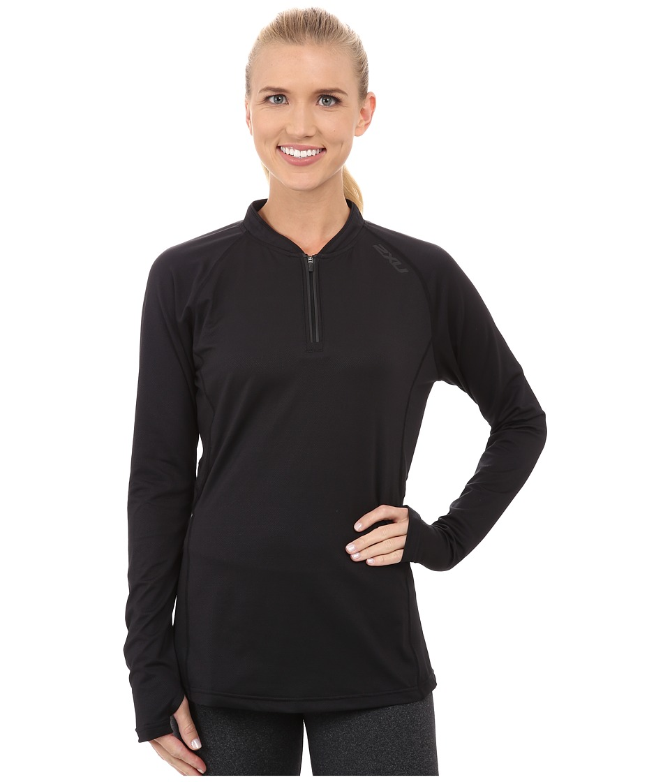 2XU - Hyoptik Zip Thru Top (Black/Black) Women's Clothing
