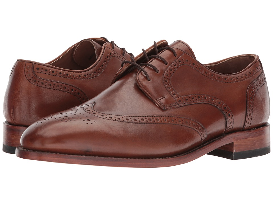 Johnston & Murphy - Melton Wingtip (Tan Italian Calfskin) Men's Lace Up Wing Tip Shoes