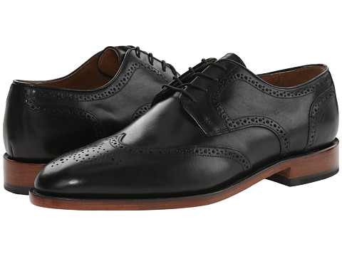 Johnston & Murphy - Melton Wingtip (Black Italian Calfskin) Men's Lace Up Wing Tip Shoes