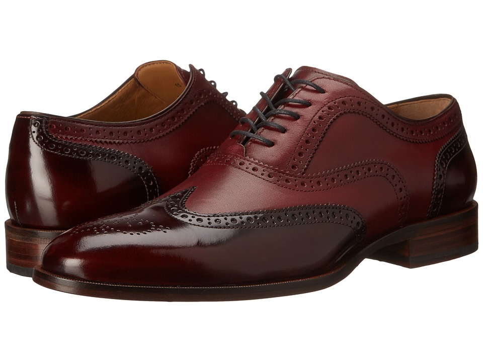 Johnston & Murphy - Nolen Wingtip (Burgundy Calfskin) Men's Lace Up Wing Tip Shoes