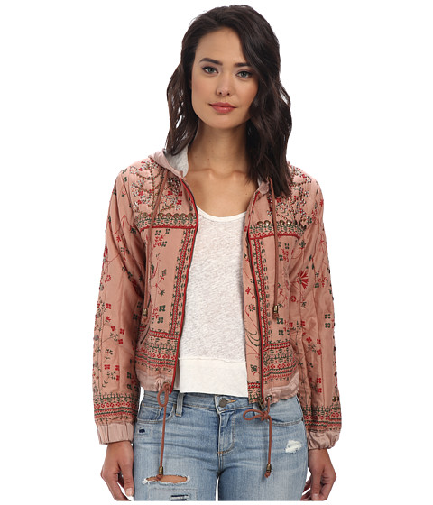 Free People - Printed Cotton Voile Patterned Hooded Jacket (Cotton Candy) Women's Jacket
