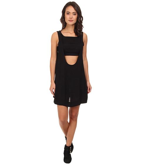 Free People - Tropical 2-fer Solid Mini Dress (Black) Women's Dress