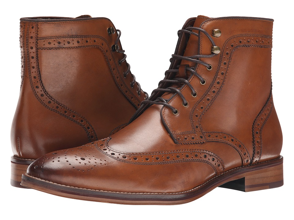 Johnston & Murphy - Conard Wingtip Boot (Tan Calfskin) Men's Dress Lace-up Boots