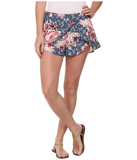 Free People - Printed Rayon Extreme Crossover Shorts (Bluestone Combo) Women's Shorts