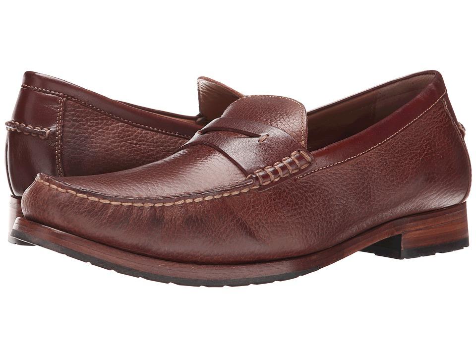 Johnston & Murphy - Rendon Penny (Mahogany/Brown Full Grain) Men's Slip on Shoes