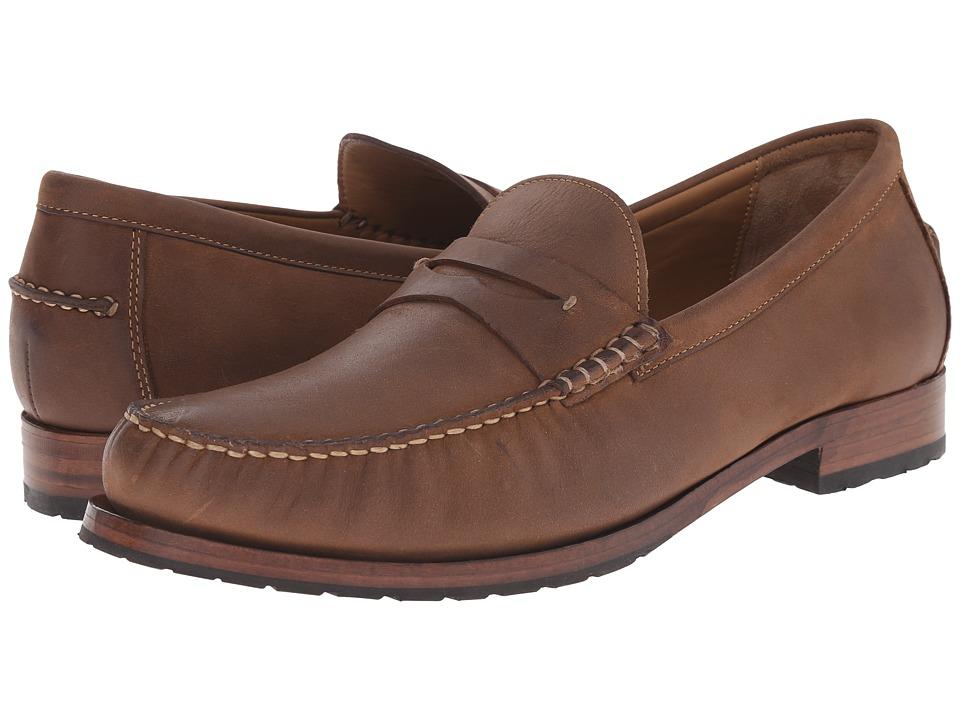 Johnston & Murphy - Rendon Penny (Tan Oiled Water-Resistant Full Grain) Men's Slip on Shoes