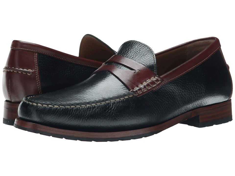 Johnston & Murphy - Rendon Penny (Black/Brown Full Grain) Men's Slip on Shoes