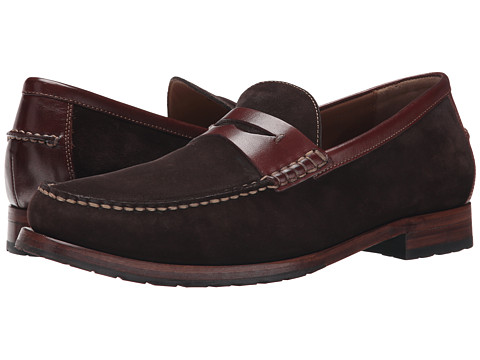 Johnston & Murphy - Rendon Penny (Dark Brown Suede/Brown Full Grain) Men's Slip on Shoes