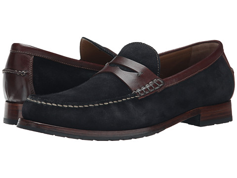 Johnston & Murphy - Rendon Penny (Navy Suede/Brown Full Grain) Men's Slip on Shoes