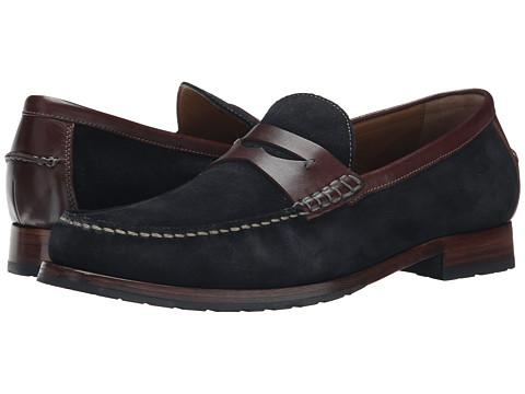 Johnston & Murphy - Rendon Penny (Navy Suede/Brown Full Grain) Men's Slip on Shoes