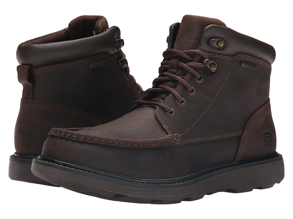 Rockport - Boat Builders Waterproof Moc Toe Boot (Dark Brown) Men's Lace-up Boots