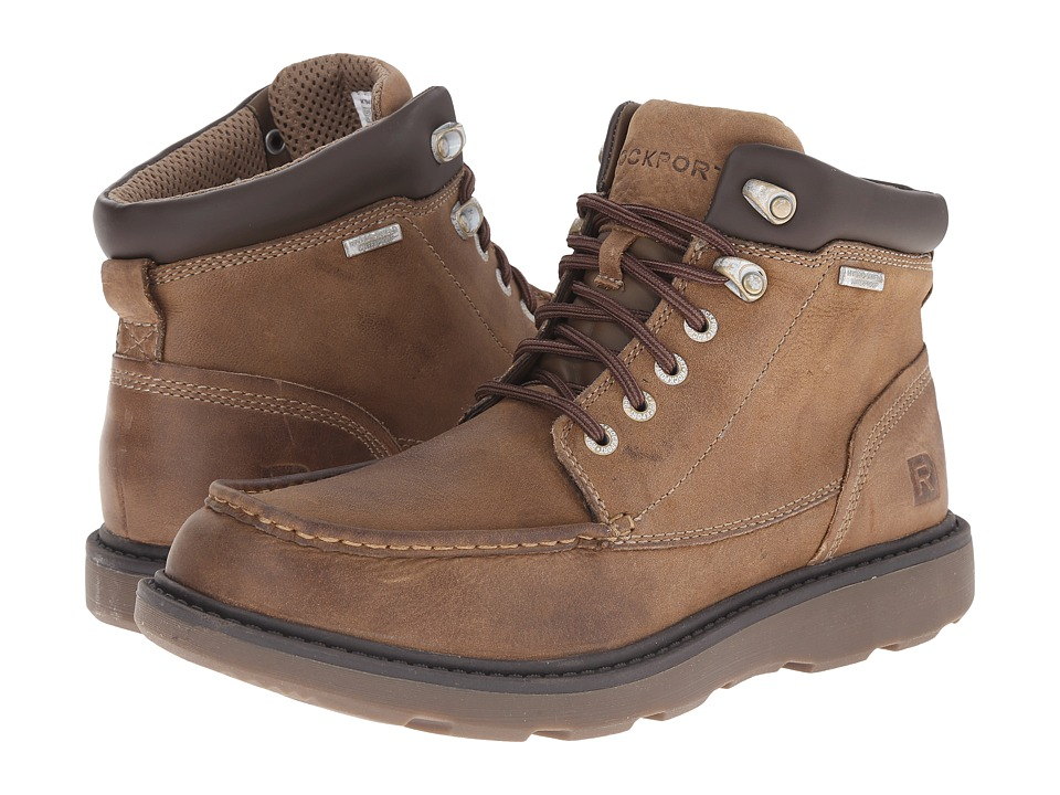 Rockport - Boat Builders Waterproof Moc Toe Boot (Stone) Men's Lace-up Boots