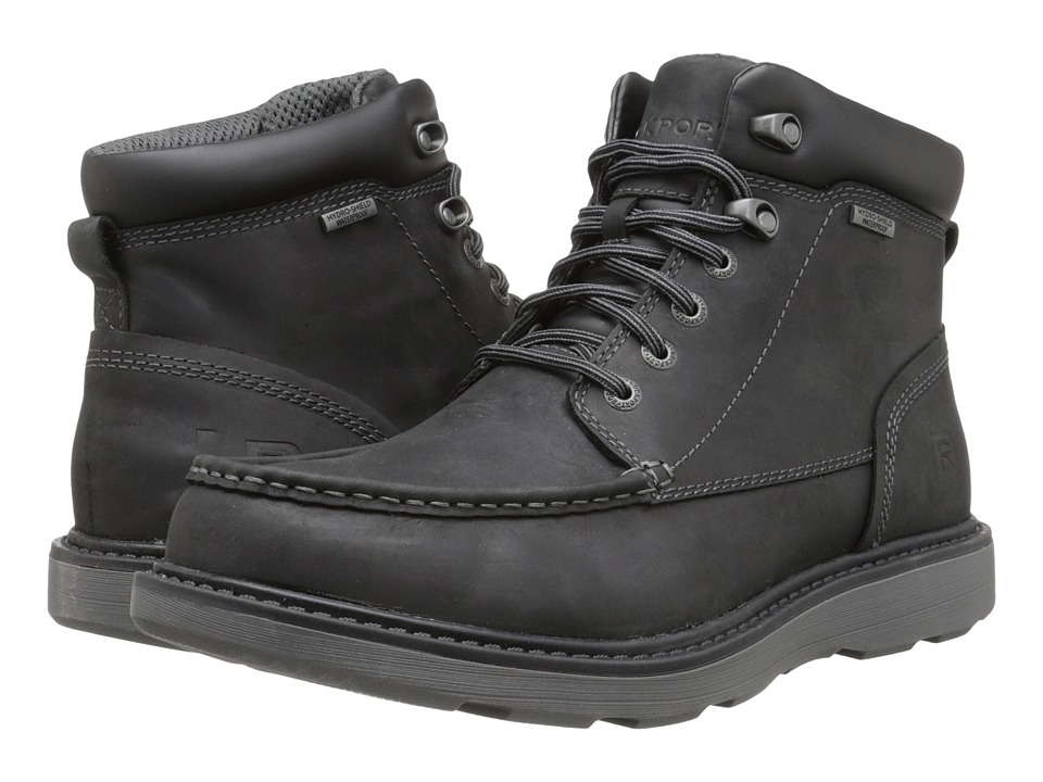 Rockport - Boat Builders Waterproof Moc Toe Boot (Black) Men's Lace-up Boots