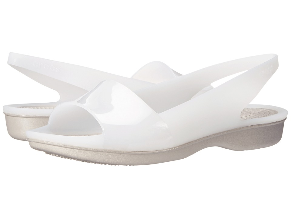 Crocs - Color Block Translucent Slingback Flat (White/Platinum) Women's Sling Back Shoes