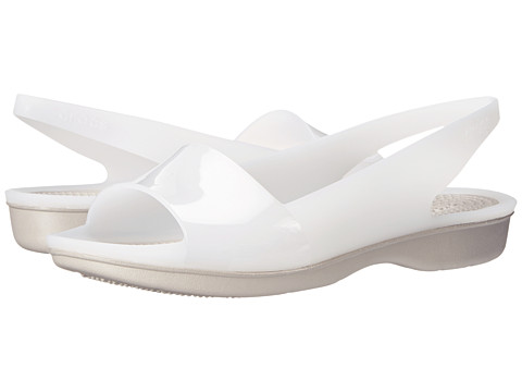 Crocs - Color Block Translucent Slingback Flat (White/Platinum) Women