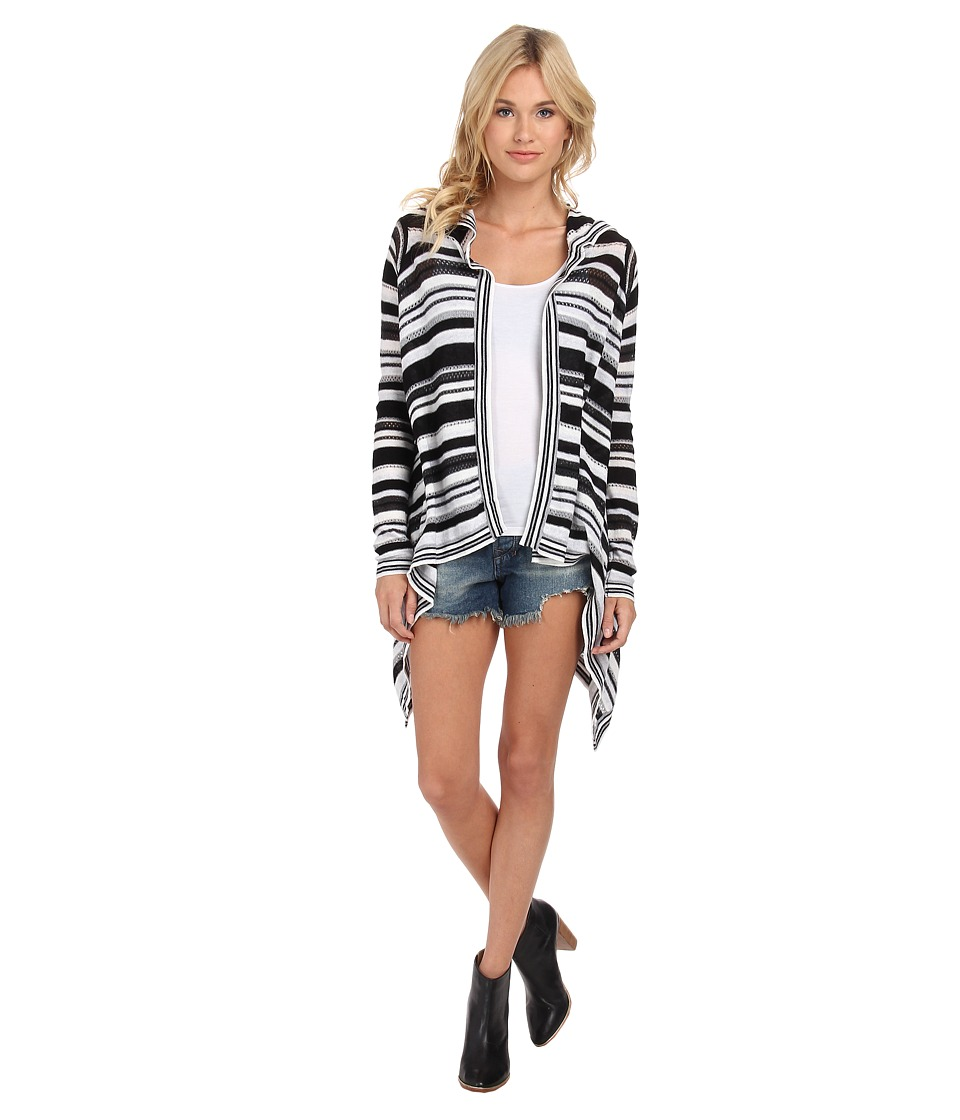 BCBGeneration - Stripe Hooded Cardi Wrap NGC4H991 (Black Combo) Women's Sweater