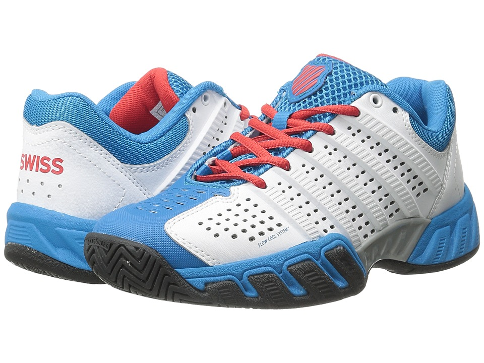 K-Swiss Kids - Bigshot Light 2.5 Tennis (Little Kid/Big Kid) (White/Methyl Blue/Fiery Red/Black) Boys Shoes