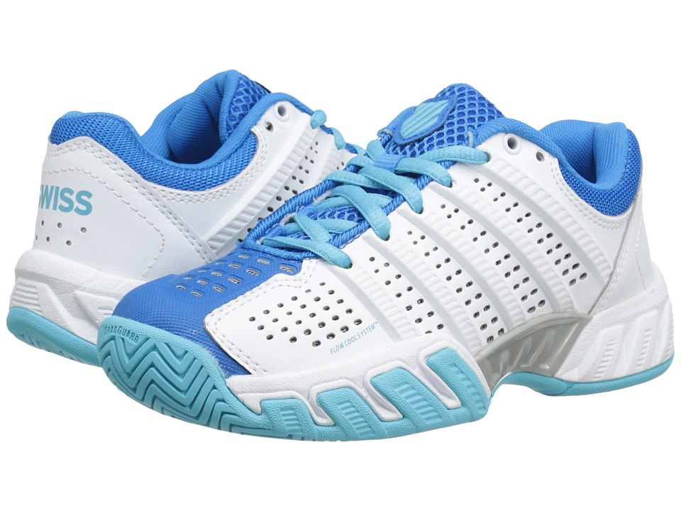K-Swiss Kids - Bigshot Light 2.5 Tennis (Big Kid) (White/Blue Aster/Bachelor Button) Girls Shoes