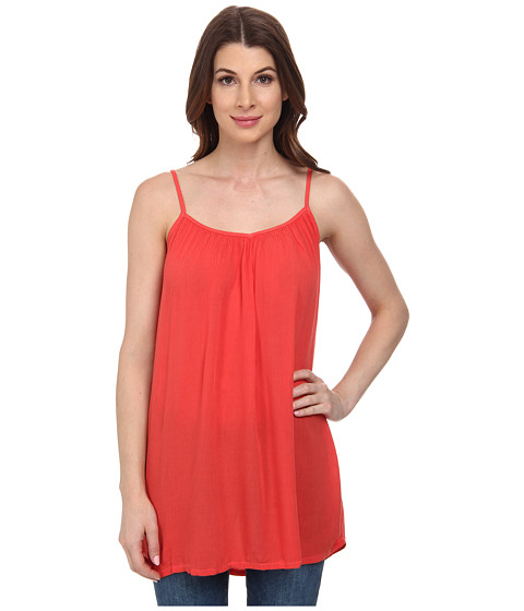 Allen Allen - Gathered V-Neck Cami (Tangelo) Women's Sleeveless