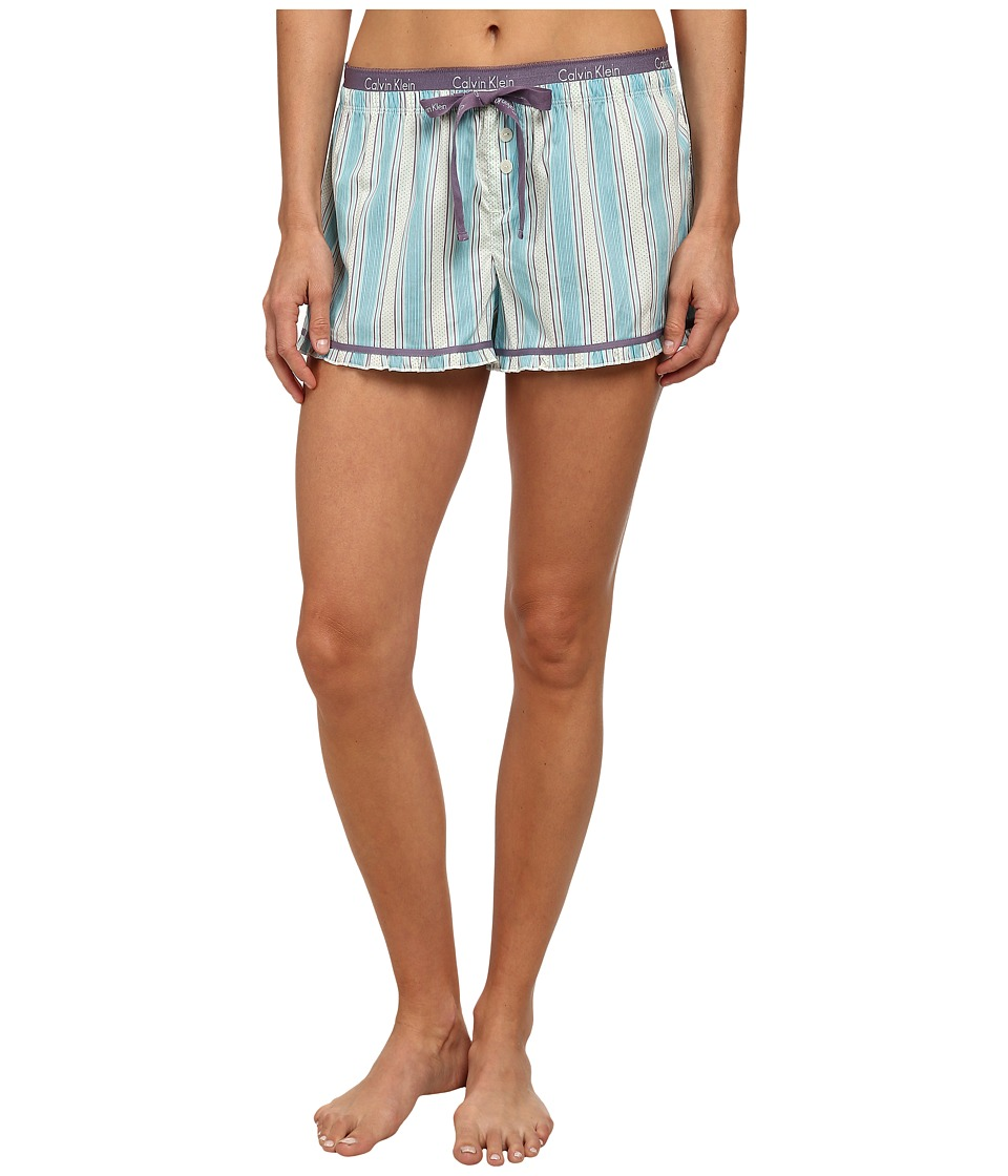 Calvin Klein Underwear - PJ Shorts w/ Ruffle Bottom (Civic Stripe Multiway/Ivory) Women