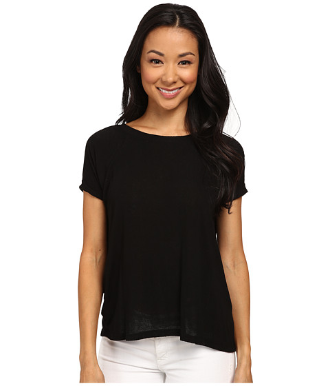 Allen Allen - Low Back Scoop with Lace (Black) Women's T Shirt